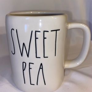 "Rae Dunn Dining - RAE DUNN "" SWEET PEA "" COFFEE MUG WHITE"